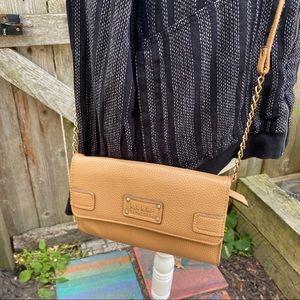 Nicole Miller New York Tan crossbody wallet purse